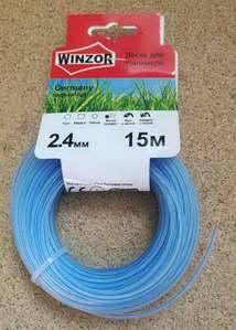 Леска 2,4*15 круг с жилой (полупрозрачный с синей жилой) Winzor