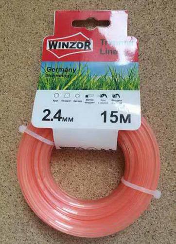 Леска 2,4*15 квадрат с жилой(полупрозрачный с оранжевой жилой) Winzor
