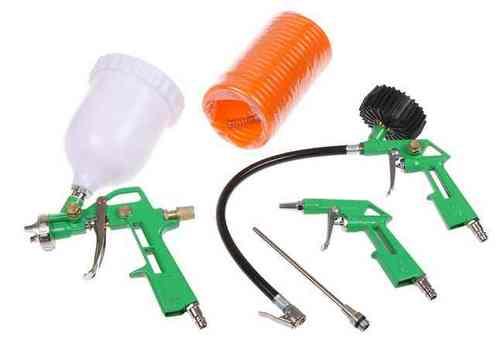 Набор для компрессора ECO SGK-51 (Краскораспылитель с бачком 600мл (сопло 1,5 мм),пистолет д/подкачки шин с манометром,пистолет продувочный,длинная насадка, шланг 5 м)